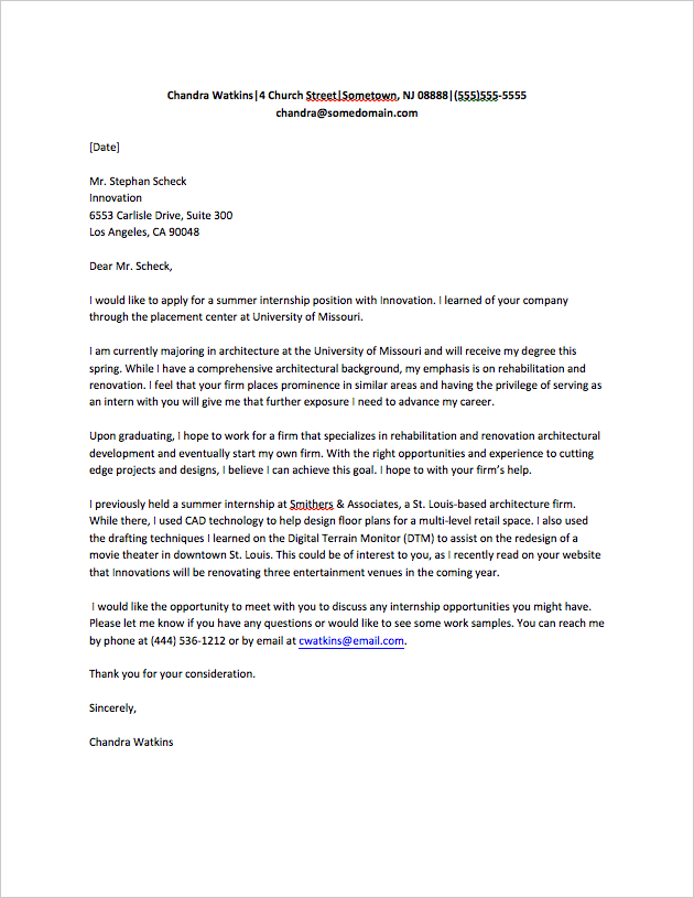Cover Letter for Internship Sample - Fastweb