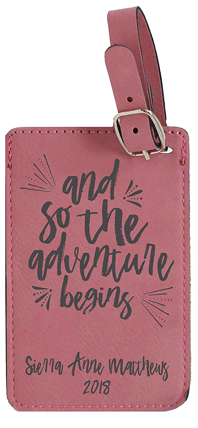 luggage tag with motivational message