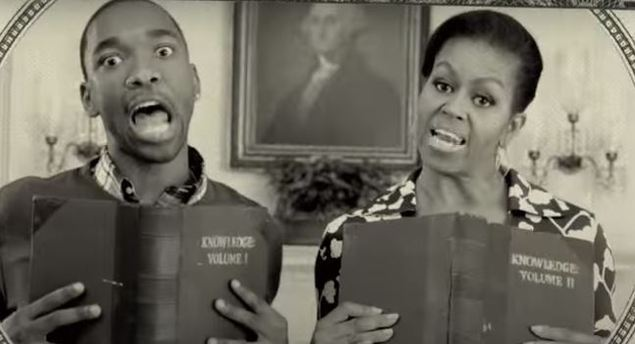 FLOTUS Michelle Obama & SNL's Jay Pharoah Star in a Rap Video about Going to College